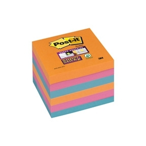 Post-it Super Sticky Notes 76x76mm Electric Glow - 6blk/pk