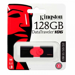 KINGSTON 128GB USB 3.0 DataTraveler 106 - Sort/rød