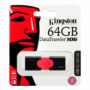 KINGSTON 64GB USB 3.0 DataTraveler 106 - Sort/rød