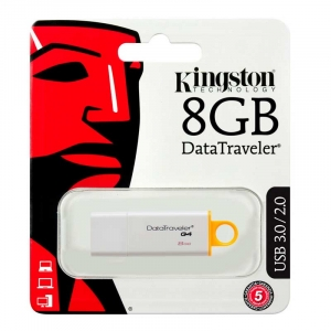 KINGSTON 8GB USB 3.0 DataTraveler G4 - Hvid/Gul