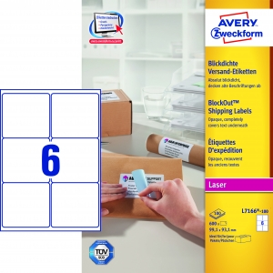 Avery adresseetiket 99,1x93,1mm BlockOut (600)