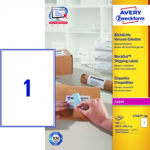 Avery adresseetiket 199,6x289,1mm BlockOut (100)