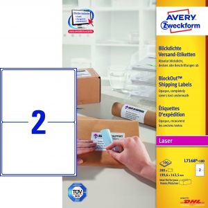 Avery adresseetiket 199,6x143,5mm BlockOut (200)
