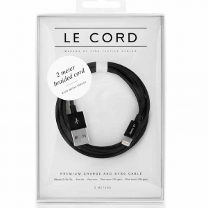Opladerkabel LE CORD  t/ IPhone, iPad Sort - 2,0 meter