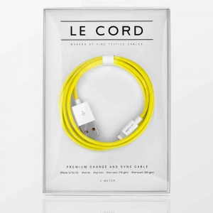 Opladerkabel LE CORD  t/ IPhone, iPad Gul - 1,0 meter