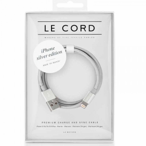 Opladerkabel LE CORD t/ IPhone, iPad Solid silver - 2,0 meter