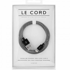 Opladerkabel LE CORD  t/ IPhone, iPad Hvid/Sort - 2,0 meter