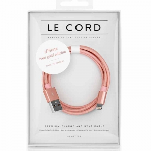 Opladerkabel LE CORD  t/ IPhone, iPad Rose gold - 1,2 meter