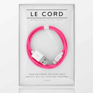 Opladerkabel LE CORD  t/ IPhone, iPad Pink - 1,0 meter