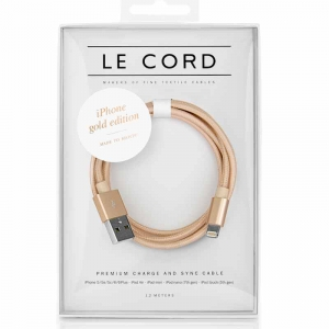 Opladerkabel LE CORD  t/ IPhone, iPad Solid gold - 1,2 meter