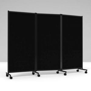 Lintex skærmvæg One Screen 3-delt, 2280x1705mm - sort /sort