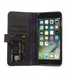 DECODED - LEATHER WALLET CASE MAGNET FOR IPHONE 7 PLUS/6S PLUS/6 PLUS - BLACK
