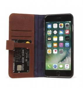 DECODED - LEATHER WALLET CASE MAGNET FOR IPHONE 7 PLUS/6S PLUS/6 PLUS - BROWN