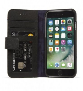 DECODED - LEATHER WALLET CASE MAGNET FOR IPHONE 7/6/6S BLACK
