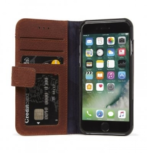 DECODED - LEATHER WALLET CASE MAGNET FOR IPHONE 7/6/6S BROWN