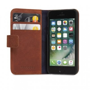DECODED - LEATHER WALLET CASE FOR IPHONE 5/5S/SE BROWN