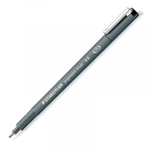 Fineliner Staedtler Pigment liner 308, 0,6mm - Sort